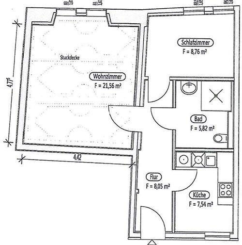 Grundriss für eine 52qm-Wohnung im Erdgeschoss (mit Stuckdecke im Wohnzimmer):